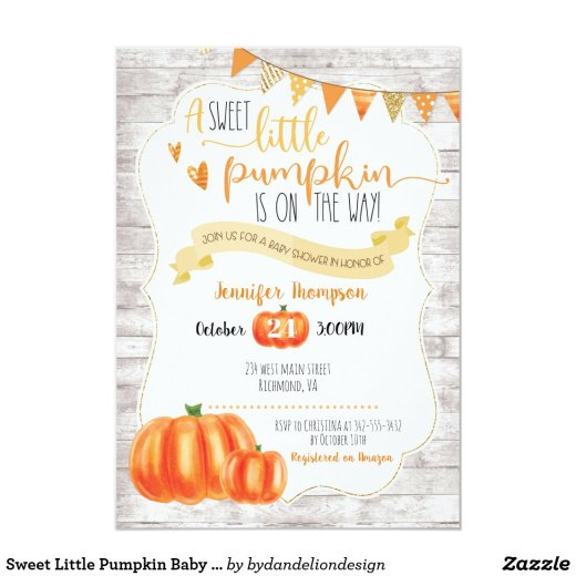 Sweet Little Pumpkin Baby Shower Invitation
