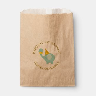 Sweet Mint Green Elephant Birthday Party Favor Bags