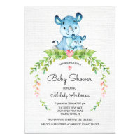 Sweet Safari Jungle Hippo Baby Shower Invitation