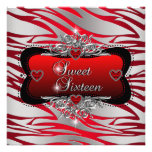Sweet Sixteen Sweet 16 Birthday Party Red Custom Announcement