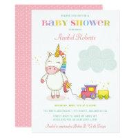 Sweet Unicorn Baby Shower Invitation