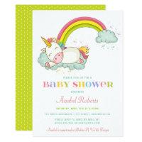 Sweet Unicorn Baby Shower Invitation Rainbow