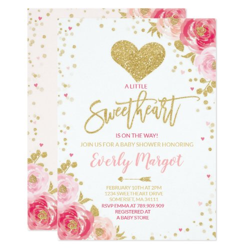 Sweetheart Baby Shower Invitation Valentine's Baby