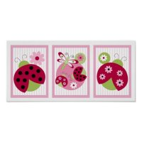 Sweetie Pie Ladybug Dragonfly Nursery Wall Art | Zazzle