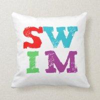 SWIM letters Throw Pillow | Zazzle