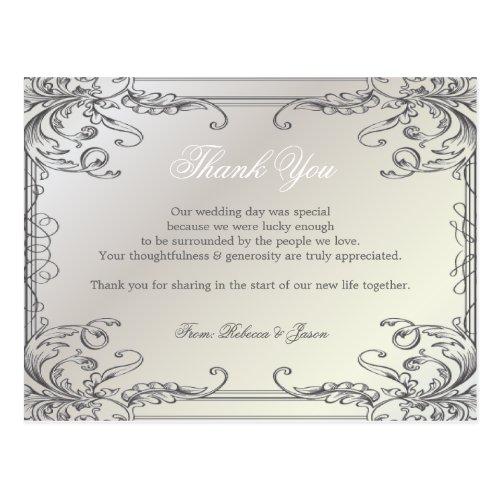swirls Pearl White vintage Wedding thank you Postcard