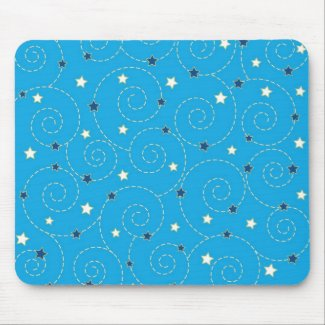 Swirls stars blue - Mousepad
