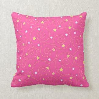 Swirls stars pink pillows