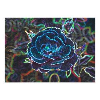 Swirly Blue Neon Rose Custom Announcement