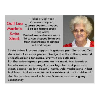 Swiss Steak Recipe Postcard
