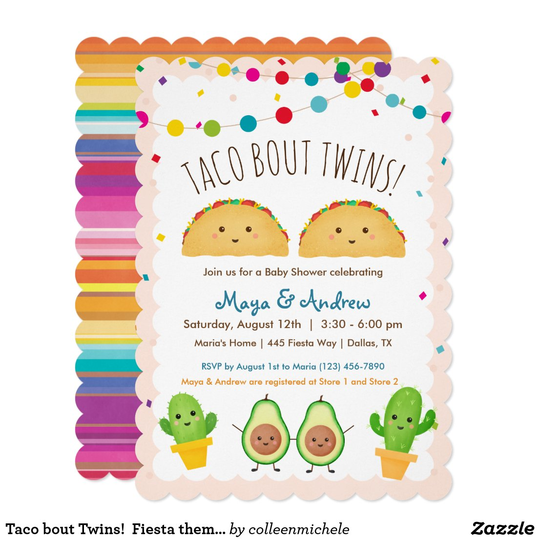 Taco bout Twins!  Fiesta theme Twin Baby Shower Invitation