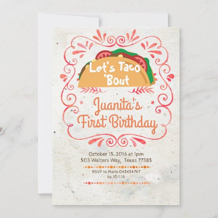 tacos fiesta mexican birthday party invitation zazzle com