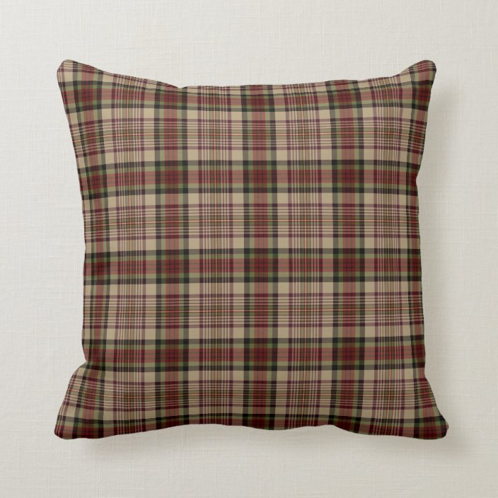 tan red and green plaid throw pillow zazzle com