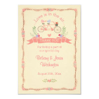 Tandem Bicycle, Birds and Banner Wedding Thank You Card