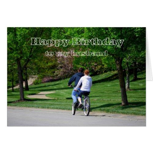 Tandem Bicycle Husband Birthday Light Green Interi Card