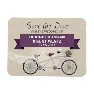 Tandem Plum Bicycle Save the Date Magnet
