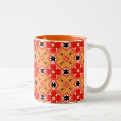 Tangerine Lattice of Modern Floral Quilt Two-Tone Coffee Mug