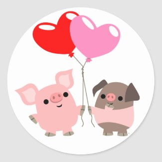 Tangled Hearts (Cartoon Pigs) sticker sticker