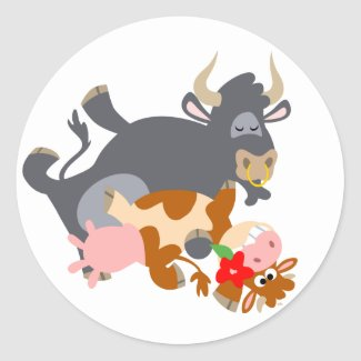 Tango!! (cartoon bull and cow) sticker sticker