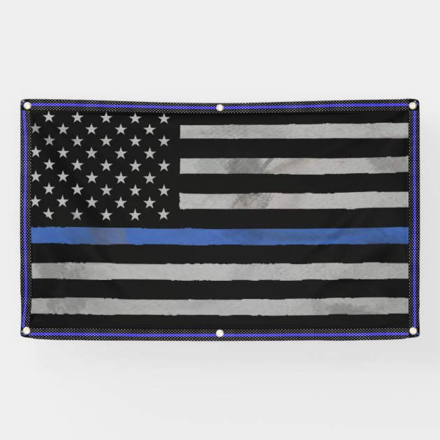 Tattered Distressed Thin Blue Line Flag Banner  Zazzlecom