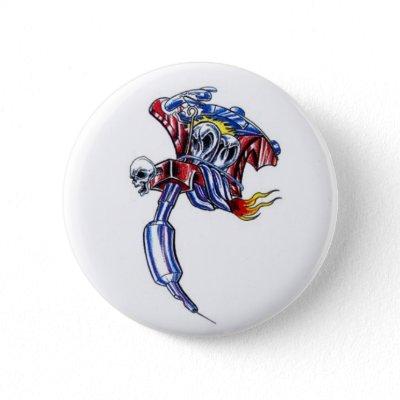 tattoo machine skull pinback buttons by tattoostyle