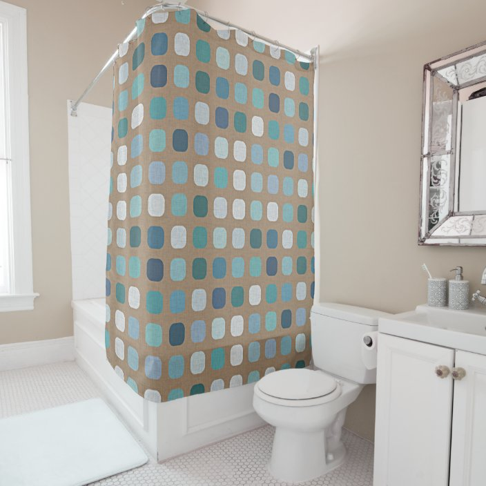 taupe brown turquoise light blue round squares art shower curtain zazzle com