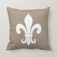 Taupe color fleur de lis throw pillow | Zazzle