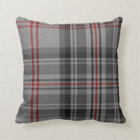 Taupe Gray Black Red Off-Centre Giant Tartan Plaid Throw Pillow