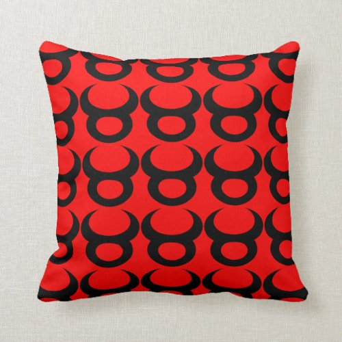 Taurus Red Black Repeating Pattern Throw Pillow