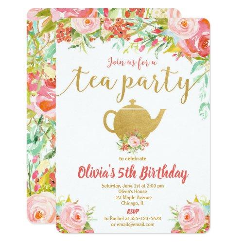 Tea party birthday invitation girl floral gold