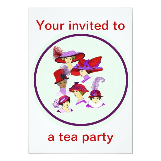Tea Party Invitation Las Wearing Red Hats
