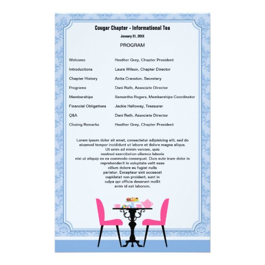 Tea Party Program Template Stationery Zazzle