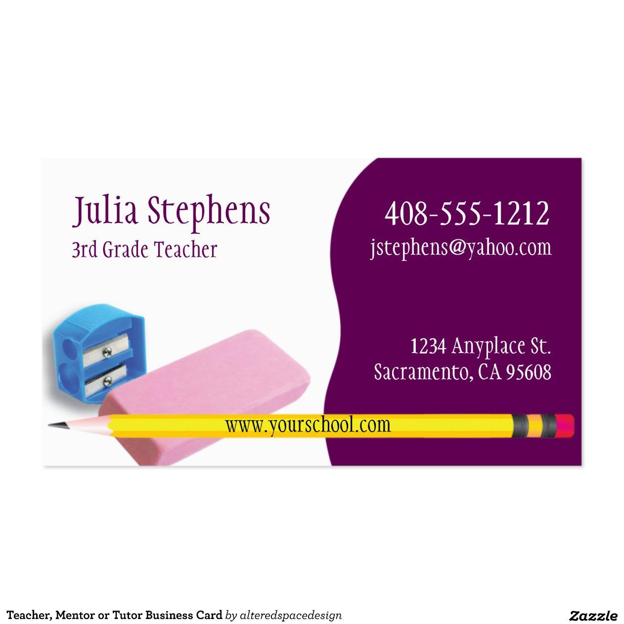 Teacher Mentor Tutor Business Card
