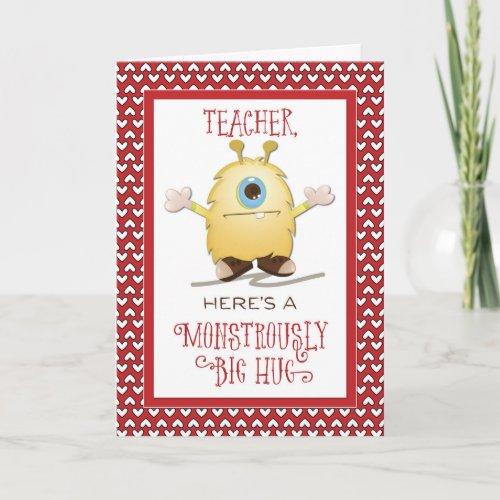 Teacher Monster Hug Valentine Hearts Holiday Card