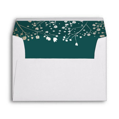 Teal and Gold Baby&#39&#x3B;s Breath Wedding Envelope