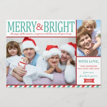 Teal and Red Merry and Bright Holiday Card