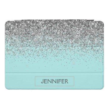 Teal Aqua Blue Silver Glitter Girly Monogram Name iPad Pro Cover