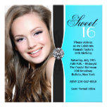 Teal Black White Photo Sweet 16 Birthday Party Personalized Invite