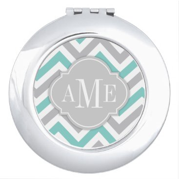 Teal Blue and Gray Chevron with Monogram Makeup Mirror