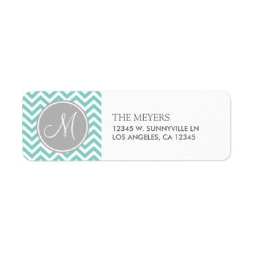 Teal Blue and Gray Modern Chevron with Monogram Label