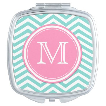 Teal Blue and White Chevron with Monogram Vanity Mirror