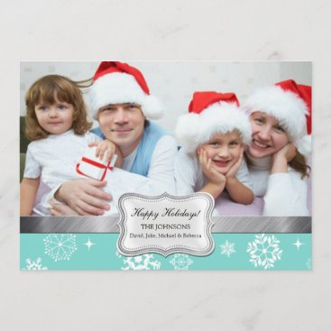 Teal Blue and White Snowflakes Photo Holiday Card