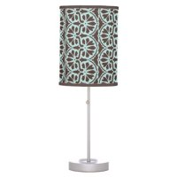Teal Blue/Brown Damask Custom Table Lamp | Zazzle