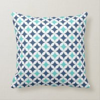 Teal Blue Geometric Pattern Decorative Pillow | Zazzle