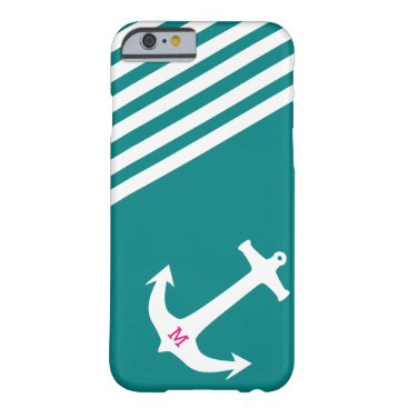 Teal Blue Nautical Anchor with Monogram Barely There iPhone 6 Case