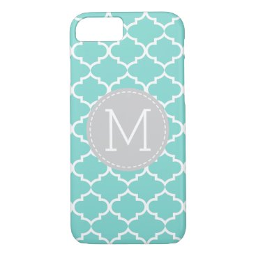 Teal Blue Quatrefoil Personalized Monogram iPhone 8/7 Case