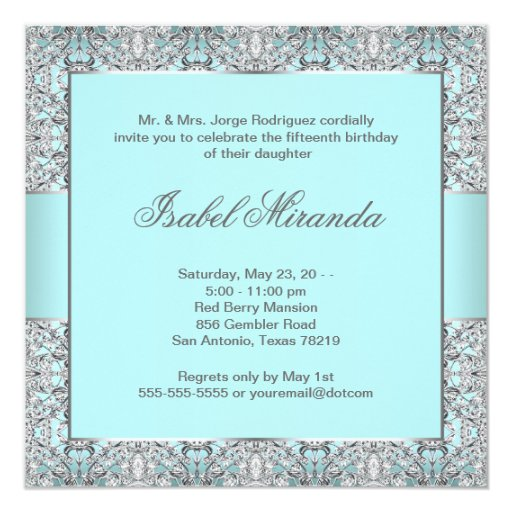 Teal Blue Silver Lace Quinceanera Card