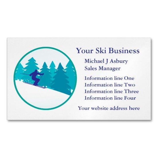 Teal Blue Snow Ski Logo Magnetic Business Card