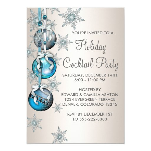Teal Blue Snowflakes Ornaments Christmas Party 5x7 Paper