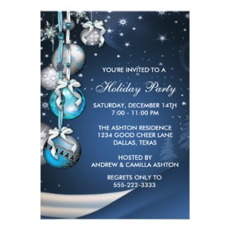 Teal Blue Snowflakes Ornaments Christmas Party Custom Announcements